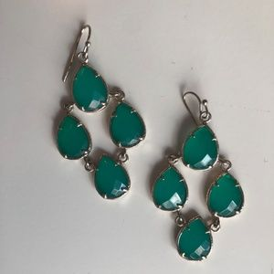 Kendra Scott Green Drop Earrings